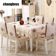 13 pcs/set Happy Tree Pattern Lace Edge Rectangle Tablecloth with Dining Chair Covers Table Cloth for Wedding Table Cover Set(China)