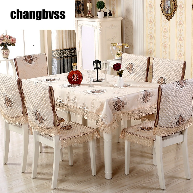 13 Pcs Set Happy Tree Pattern Lace Edge Rectangle Tablecloth With Dining Chair Covers Table Cloth For Wedding Cover