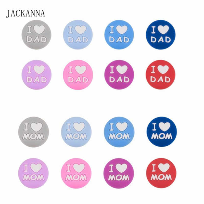 I love Mom Dad Silicone Beads Mini Beads DIY Pacifier Chain Jewelry Necklace Nursing Bracelet Accessories Silicone Baby Teether