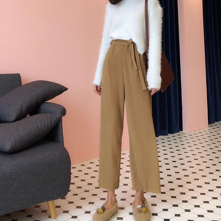 Wide     Leg     Pants   Women 2018 Autumn Korean Fashion Vintage Bow Sash High Waist Pleated Trousers Black Khaki pantalon femme B226