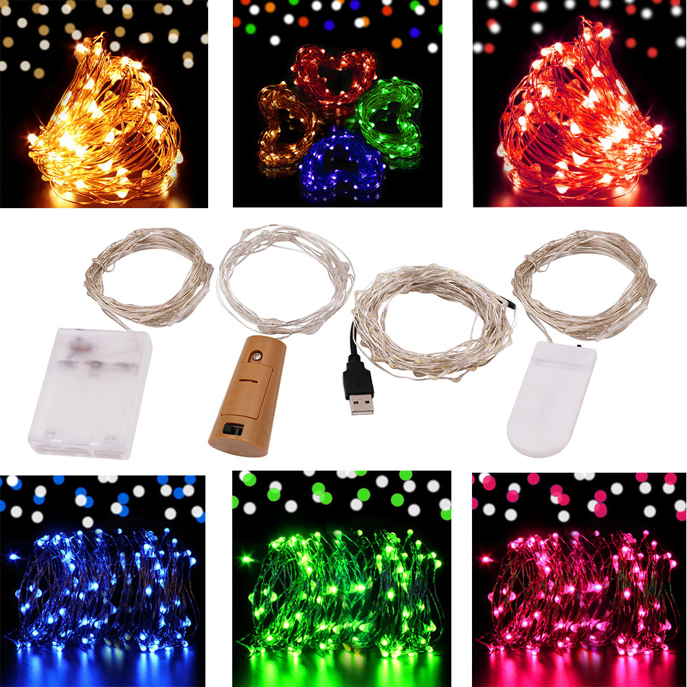 10M 5M 2M Battery USB Powered LED String Light Silver Wire Christmas Fairy Lights Strip Xmas Lamp for Party Wedding Decoration light string battery 1m 2m 5m 10m led string lights for xmas garland party wedding decoration christmas tree flasher fairy light