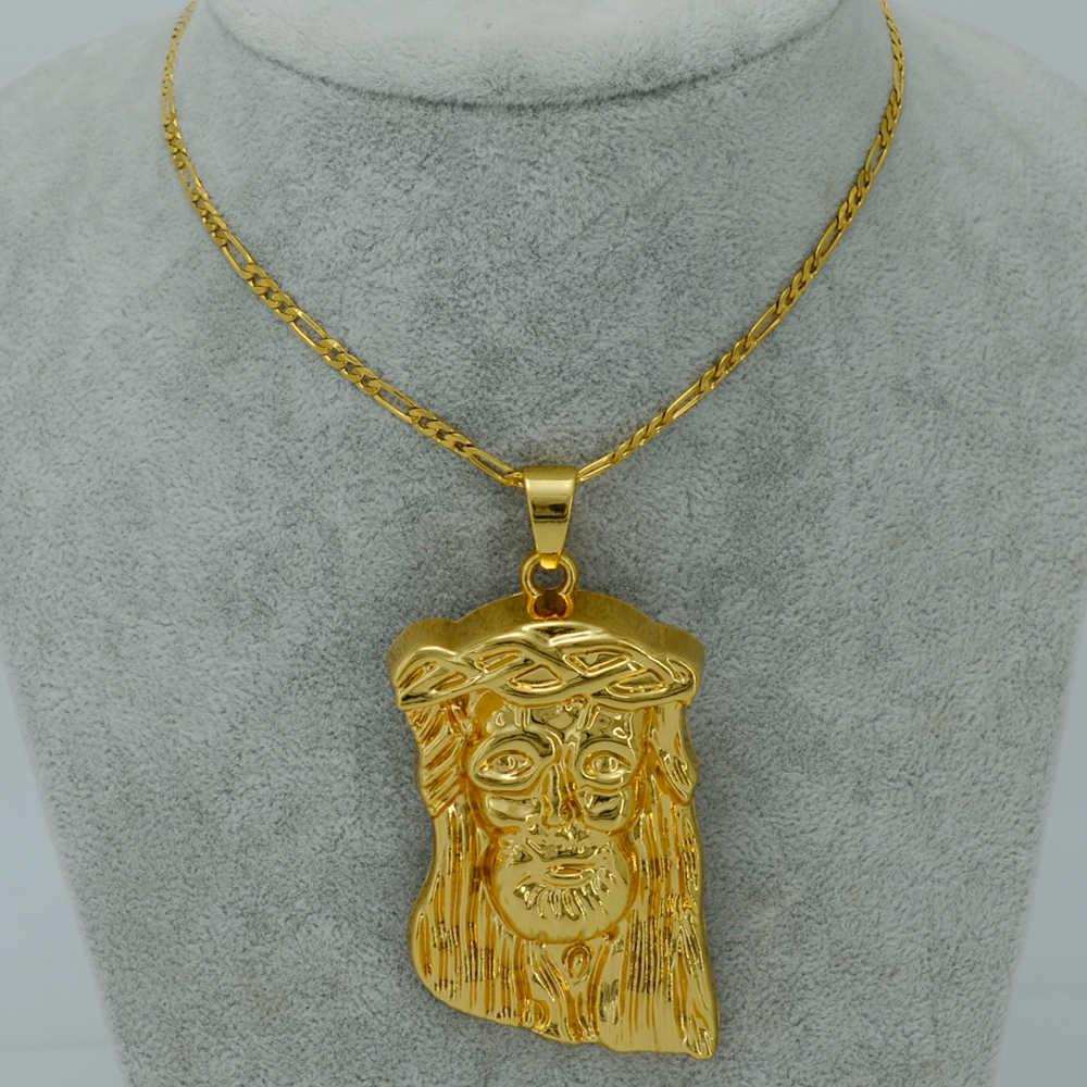 Anniyo Big Jesus Face wisiorek naszyjniki, złoty kolor jezus portret głowy Hip Hop biżuteria chrześcijańska dla mężczyzn #023106