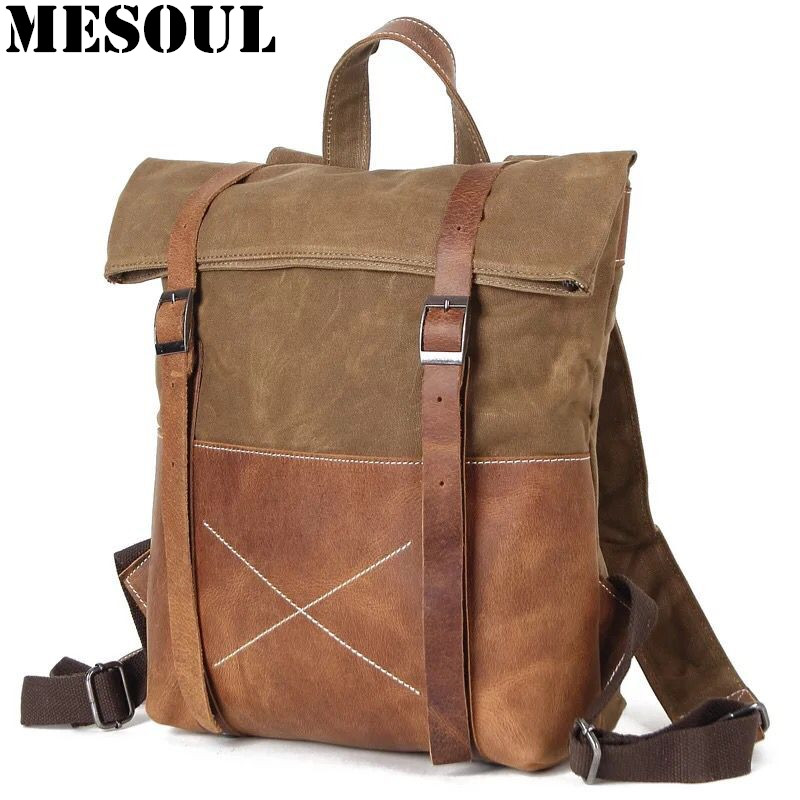 Mens Canvas Backpack Rucksack Vintage Waterproof Travel Bag Leather Casual School Shoulder Bags Mochila Military Backpack Male