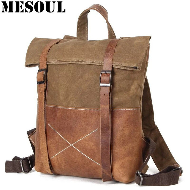 7fc485aa7964 Mens Canvas Backpack Rucksack Vintage Waterproof Travel Bag Leather Casual  School Shoulder Bags Mochila Military Backpack