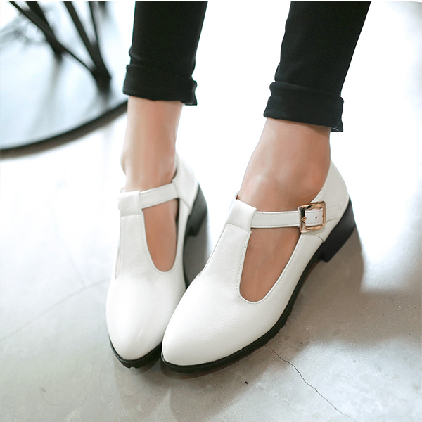 ФОТО New Spring and Autumn Fashion thick heel  single shoes british style pointed toe low-heeled elegant T-strap female shoes XY397