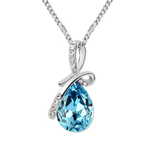 Elegant Costume Jewelry for Women Classic Retro Water Drop Crystal from Swarovski Pendant Necklace Made with Swarovski Element