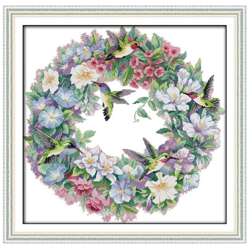 The wreath counted Cross Stitch 11CT 14CT Cross Stitch Set Wholesale DIY flower ird Cross-stitch Kit Embroidery Needlework
