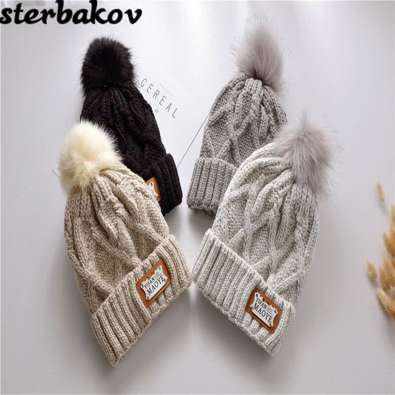 все цены на 2017 women's hat of the hundreds of Brand New Women's High Quality Winter Mink Ball Ski hat rabbit fur pom poms hats knitted hat онлайн