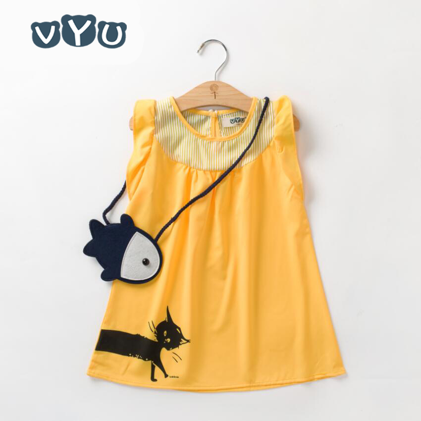 VYU Cartoon Cat Little Girl Vestido de verano sin mangas Pétalo - Ropa de ninos