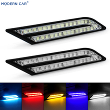 MODERN CAR 2x led DRL Daytime Running Light For Auto Waterproof Blade Car Styling External Universal Siganl LED Fog Lamps Yellow
