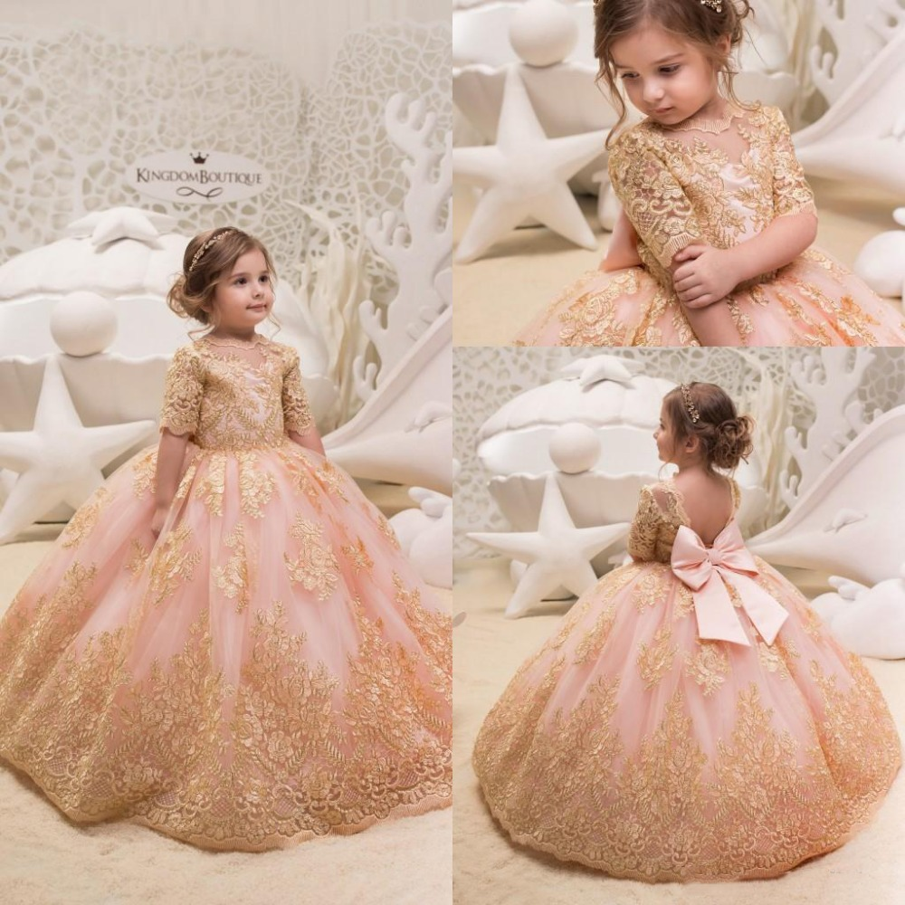 Cute 2019 Gold Lace   Flower     Girl     Dresses   for Weddings Tulle Ball Gowns Baby   Girl   Communion   Dresses   Children Kids Pageant Party