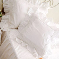 The Value Of The New Scalloped White Lace Satin Cotton Cushion Block Set Set Pillow Pillow