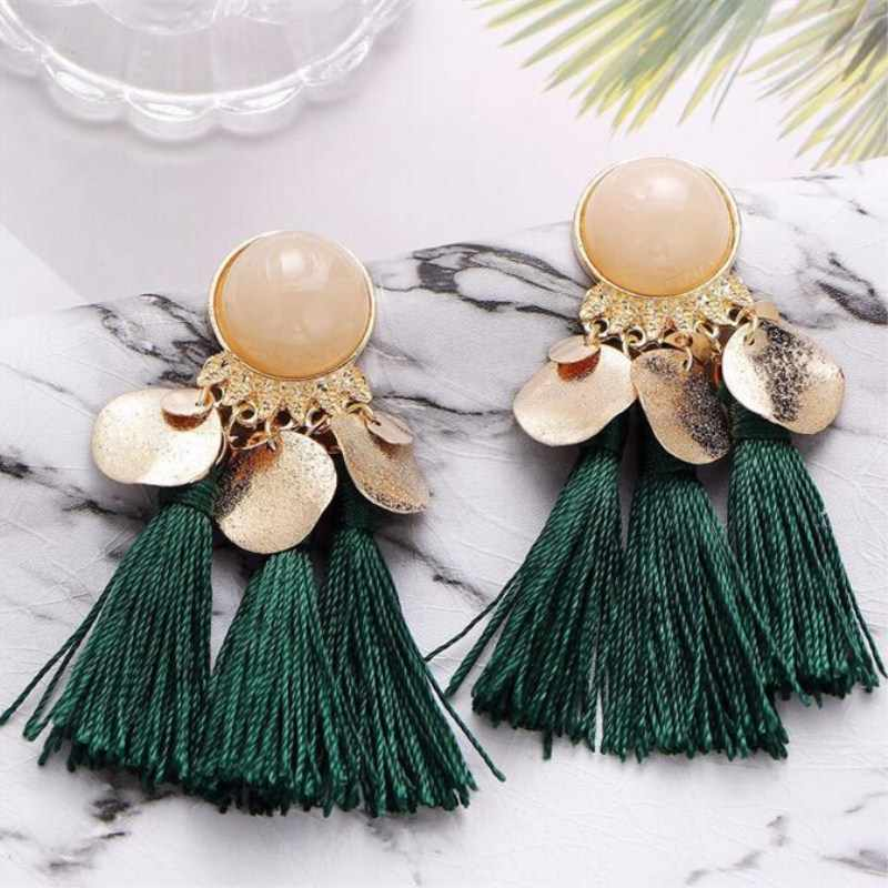 Fashion Boho Metal Shake Sequin Tassel Earrings for Women Party Vintage Charm Opal Dangle Drop Earrings Jewelry Gift Oorbellen