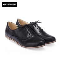 Round Toe Lace Up Euro Casual Sapatos Mulher New Pu Leather Roma Retro Comfort Womens Shoes
