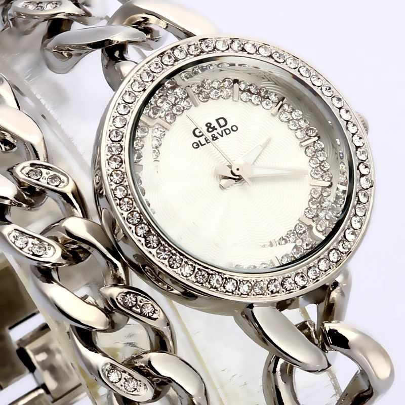 G017 チェーンローズ/ゴールドの高級レディース腕時計腕時計アナログクォーツダブルチェーンステンレス鋼バンドラインストーンブレスレット