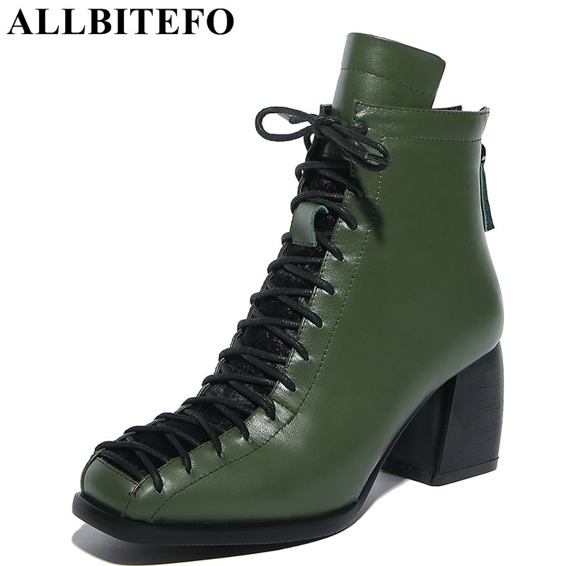ALLBITEFO square toe genuine leather thick heel women boots brand lace-up medium heel martin boots ankle boots plus size:33-42 allbitefo plus size 34 42 genuine leather pointed toe low heeled women boots fashion brand thick heel ankle boots girls boots