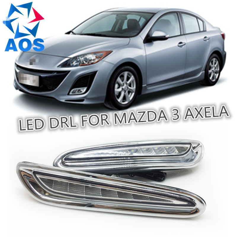 Фотография 2PCs/set LED DRL Daylight lamp Car Daytime Running light kit For MAZDA 3 Axela 2010 2011 2012 2013