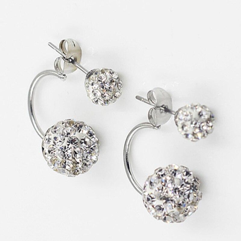 Cute Double Ball Pearl Ear Stud Earrings Women Silver color Crystal Rhinestone Cubic Zirconia Jewelry Accessories Pendientes|double ball|ear studsstud earrings - AliExpress