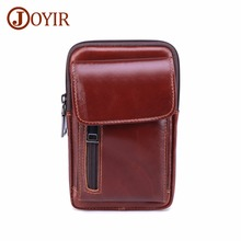 лучшая цена JOYIR Genuine Leather Men's Waist Bags Fanny Pack Pouch Phone Belt Bag Coin Purse Pocket Belt Bum Pouch Pack Vintage Hip Bag New