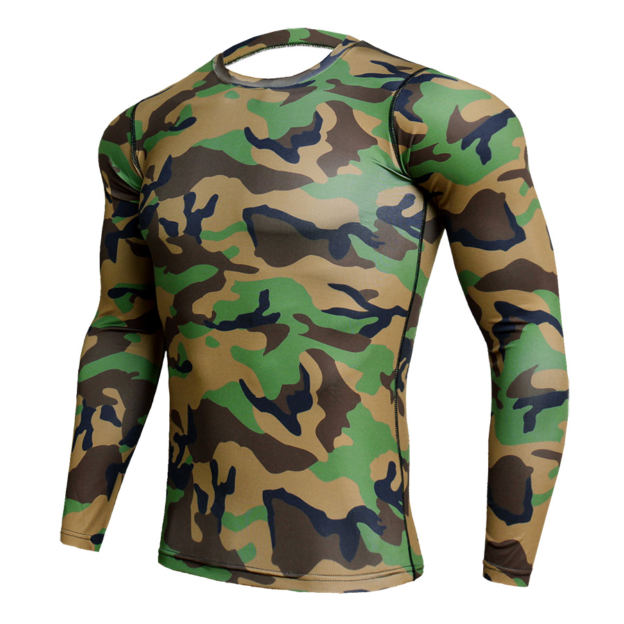 Compression Sport Shirt Men Long Sleeve Camouflage Fitness 3D Quick Dry Men's Running T-shirt Gym Workout Clothing Top Rashgard 1