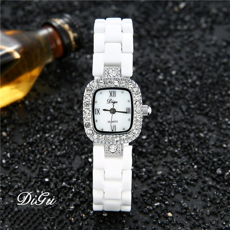 DIGU Fashion Women Diamonds Wrist Watches Ceramics Watchband Top Luxury Brand Dress Ladies Geneva Quartz Clock relogio feminino hot sales geneva brand silicone watches women ladies men fashion dress quartz wristwatches relogio feminino gv008