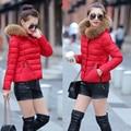 2017 New women down jackets six colors cotton slim short paragraph hooded jaquetas feminina fur collar Korean winter jackets