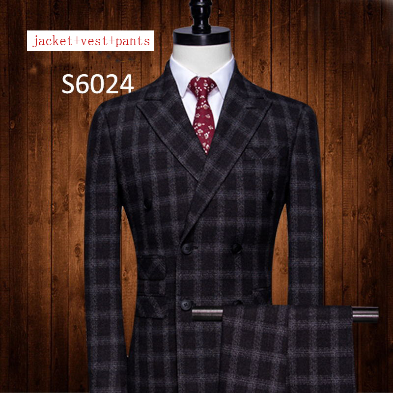 Erkek Kıyafeti'ten T. Elbise'de Yeni Ekose Takım Elbise erkek Siyah Damat Elbise setleri Kruvaze Resmi ceket + pantolon + yelek yüksek kaliteli ziyafet artı boyutu MLXL2XL 5XL'da  Grup 1