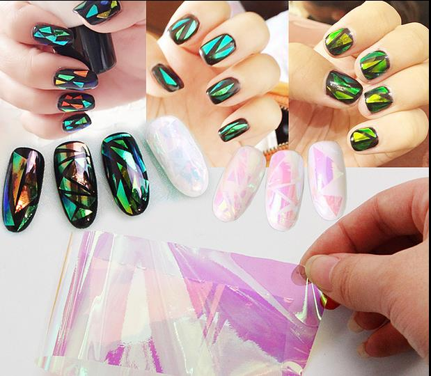 10cm explosion models Symphony irregular broken glass nail stickers nail Aurora platinum paper mirror glass paper 2016 new arrival 5cm 100m roll nail aurora stickers broken glass symphony paper nail glassine paper for 3d nail art decorations