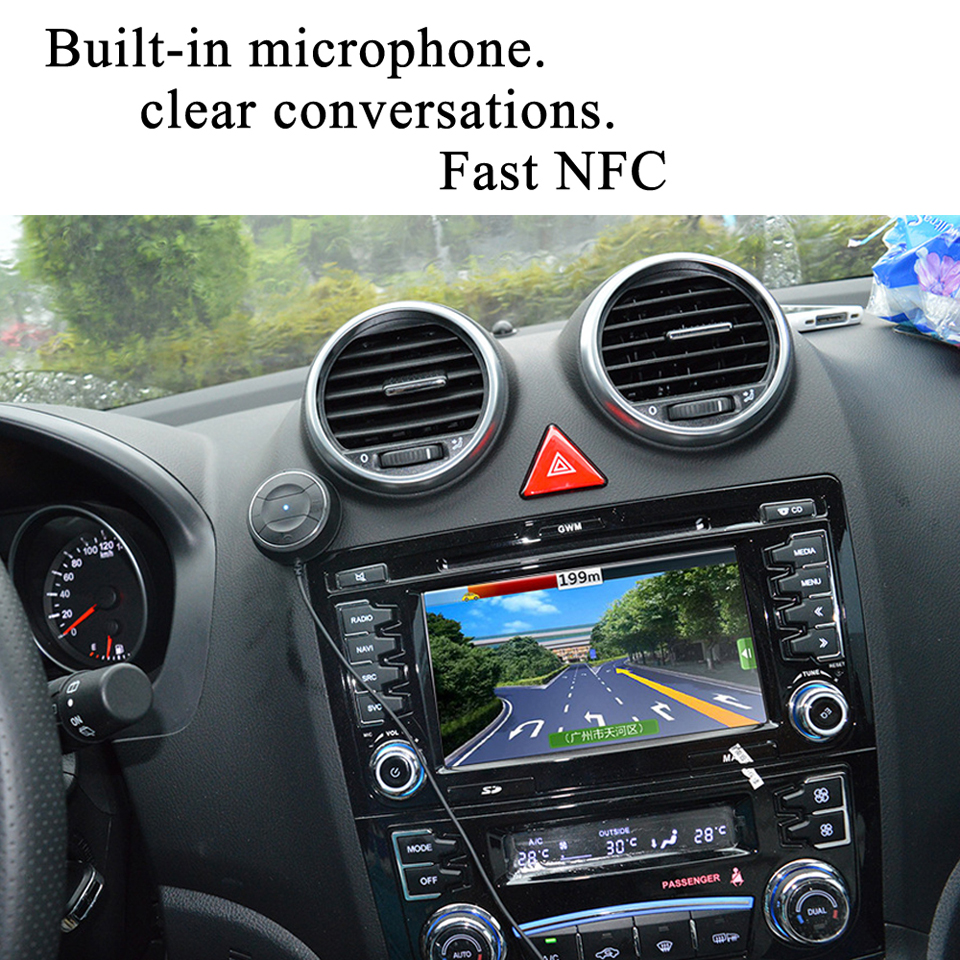 Bluetooth 4.0 Car kit with NFC Function +3.5mm AUX Receiver Dual USB 2.1A Music Receiver Handsfree Speakerphone Car Charger 9