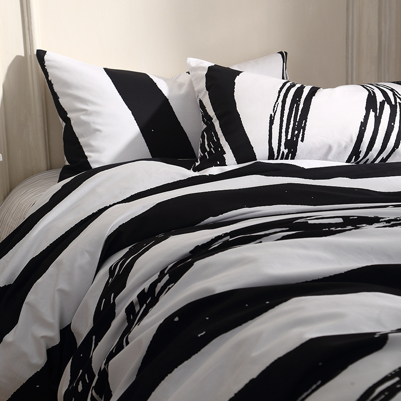 4pcs/set Black White Zebra Stripes Bedding Set Queen King Size Bedding Duvet  Cover Bed Linen Pillowcase Flat Sheet Bed Clothes In Bedding Sets From Home  ...