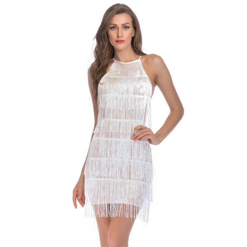 81a50fafdf MUXU white sexy fringe Halter vestidos dress patchwork sequin glitter short  vestido bandage club wear party strapless jurken new