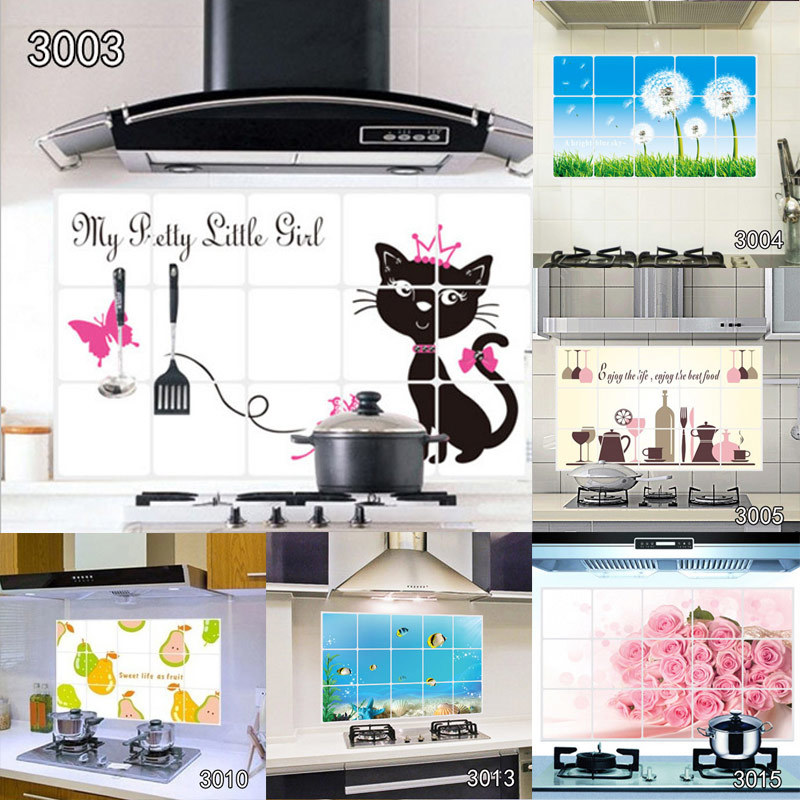 75cm*45cm Various Kitchen Anti-oil Wall Stickers Multi-style Home Decor Mural Art Decals Home Indoor Decorations Wallpaper