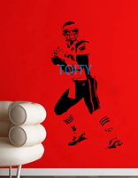 Tom Brady Wall Sticker New England Patriots Vinyl Decal Football Quarterback Sport Poster Boy Room Graphic