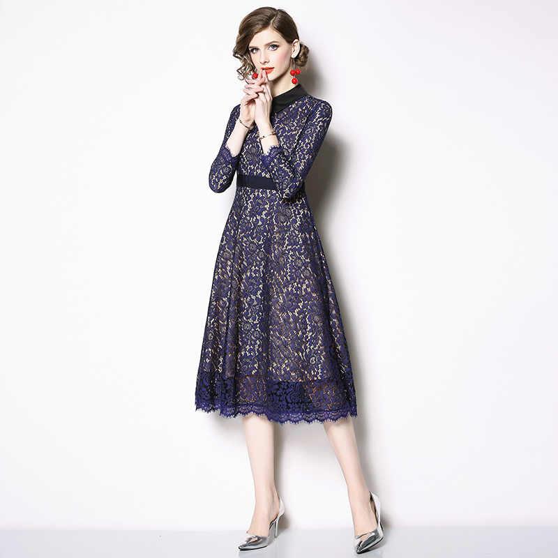 Весеннее винтажное кружевное платье с длинными рукавами, женское платье Hiver 2019, миди вечерние платья Gatsby Kerst Jurk Dames, уличная одежда K6218