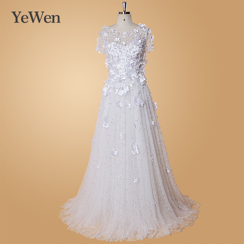 Simple White Wedding Dress Long Lace Appliques Elegant