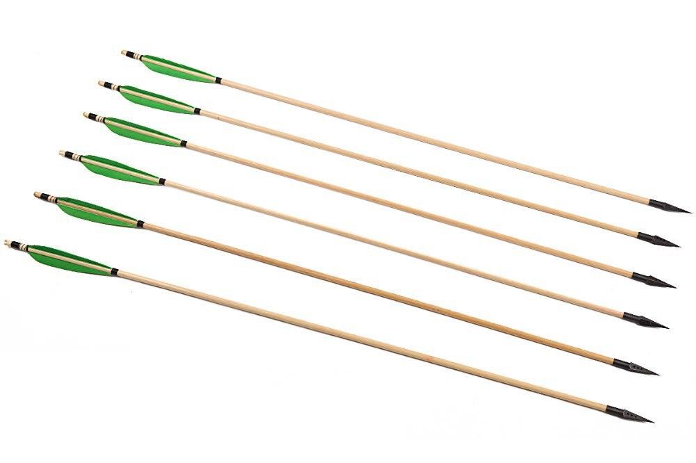 ФОТО Longbowmaker 12PK Green Feathers Cedar Wood Hunting Broadheads Archery Arrows 174 Grains SW3GB1
