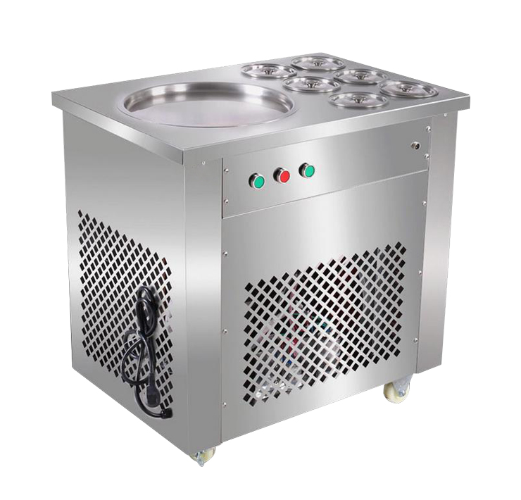 220V Hot Fry Ice Machine Fried Ice Cream Machine Ice Cream Roll Making Machine ce fried ice cream machine stainless steel fried ice machine single round pan ice pan machine thai ice cream roll machine