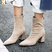Eokkar 2020 Pointed Toe Black Women Ankle Boots Warm Thigh High Hoof Heels Heel Lady Mid Calf Winter Shoes Size 34-44