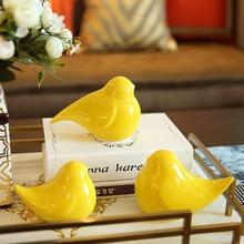 Creative ceramic cute birds statue home decor small ornament crafts room wedding decoration porcelain animal figurines