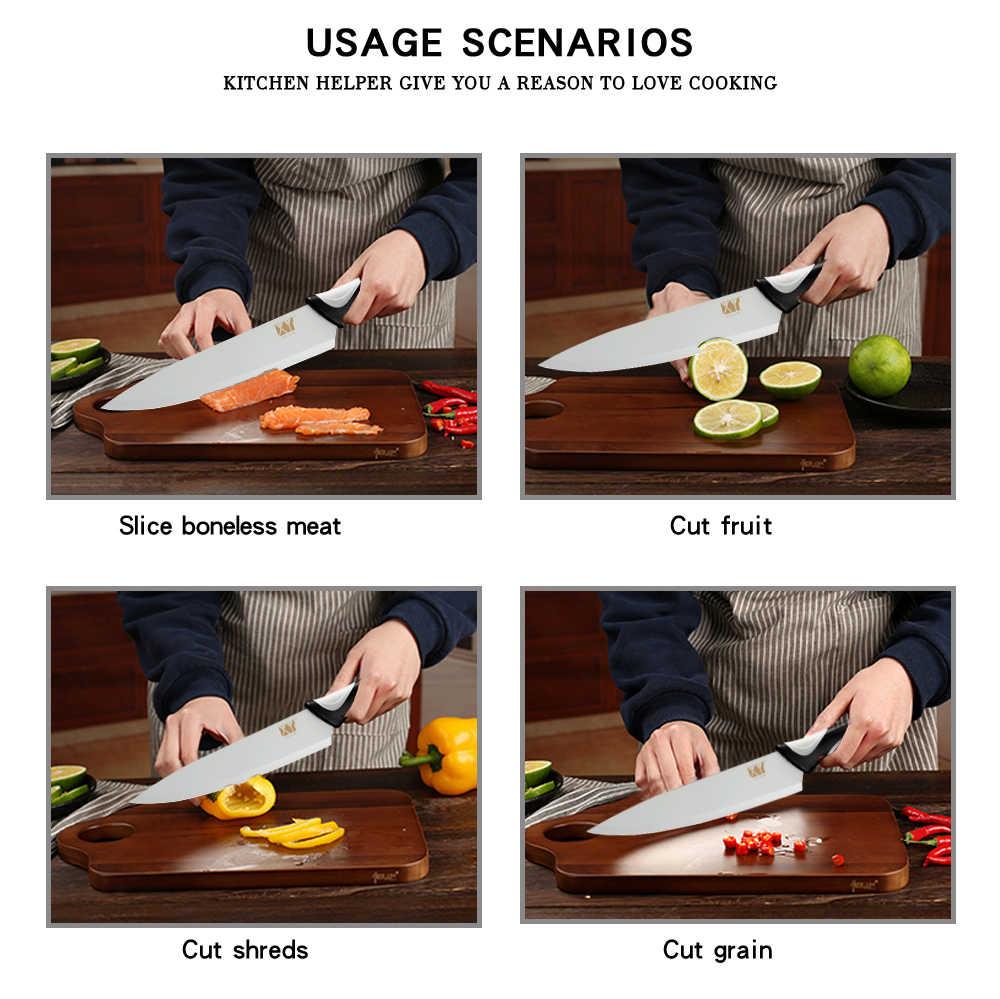 XYj الفولاذ المقاوم للصدأ سكاكين المطبخ المهنية الشيف الخبز التقطيع Santoku فائدة التقشير سكينة للطبخ الجمال اللون تصميم