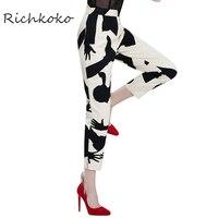 RichKoKo Apparel White Black Color Block Women Pants Abstract Printed Casual Split Trousers Slim Drawstring Zippers