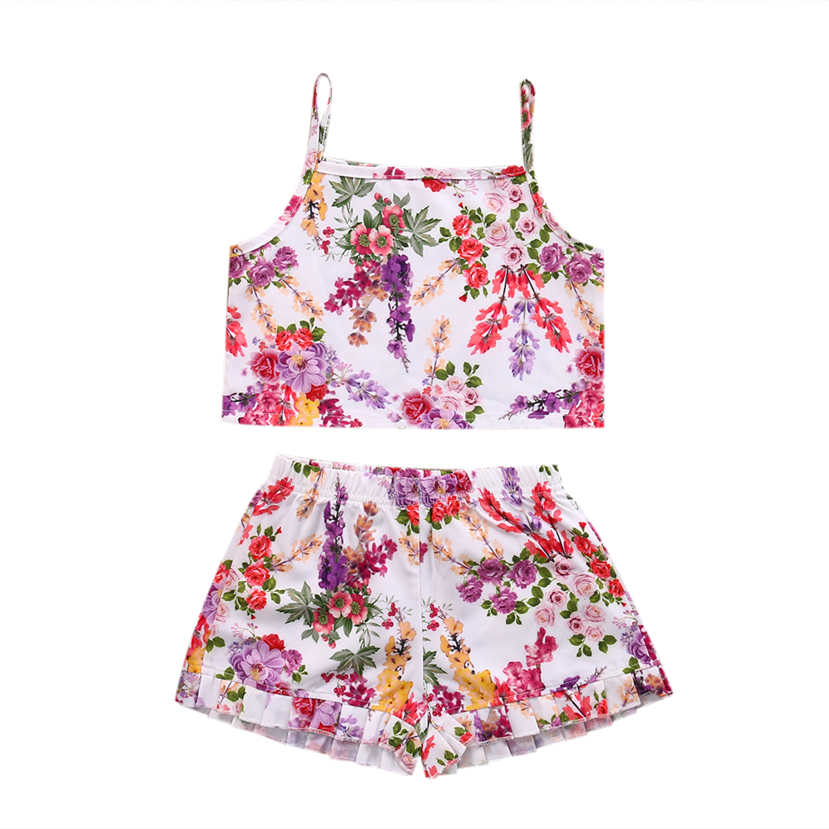 Cute Crop   Baby Girls Floral Clothing Set Kids Babies Girl Clothes Tank Vest Top+Shorts Bottom 2PCS Outfits  Sets