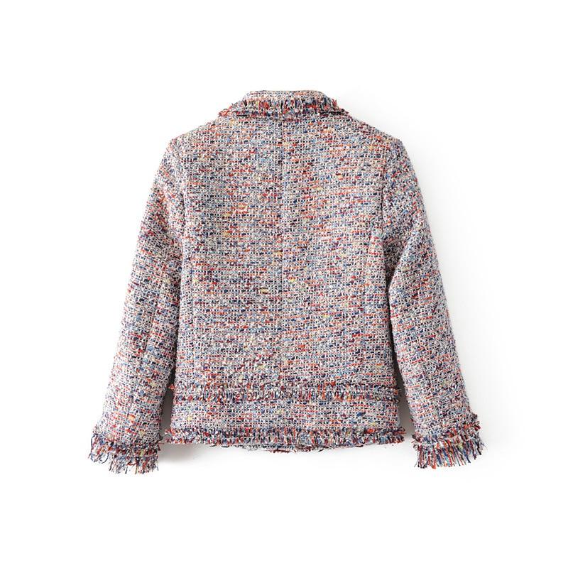 Outwear 2018 Vintage Color O Streetwear Tweed Manteaux Photo cou Automne Vestes Femmes Veste Mince Femelle Courts Casual 8PXwOkn0