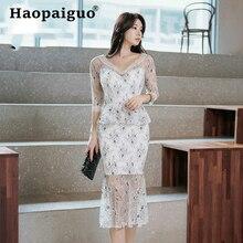 цена на 2019 Summer Lace Patchwork Floral Dress Women Trumpet Midi Wrap Bandage Dress Women Solid Sexy Party Dress Summer 2019 Sukienki