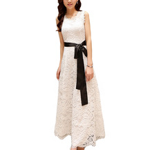 Women Lace Dress White For Wedding Summer Elegant Long Floor Length Sashes Sleeveless Party Maxi