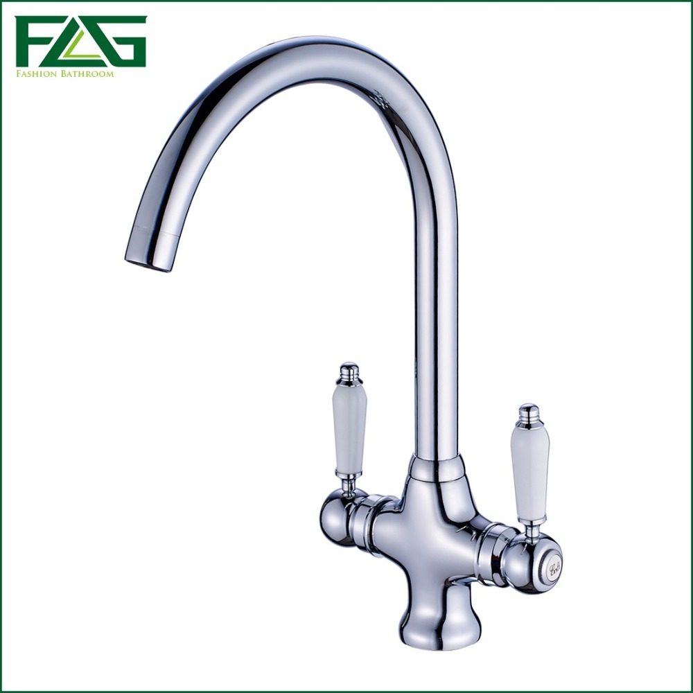 ФОТО FLG Free shipping Luxury Chrome Finish Kitchen Faucets Tap Doal Hands With Ceramic Hot And Cold Wash Basin Mixer Water Tap C061