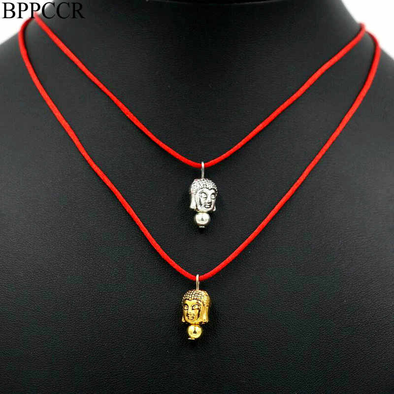 BPPCCR Women Red Thread Choker Necklace Alloy Buddha Head Silver Color Lucky Valentine's Gift Maxi Necklaces mujer Collar