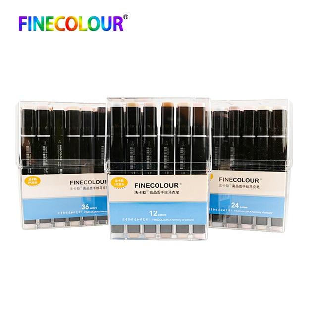 Finecolour EF102 alkol bazlı mürekkep Manga çift başlı fırça Marker 12/24/36 Set profesyonel sanat İşaretleyiciler kalem sanat malzemeleri