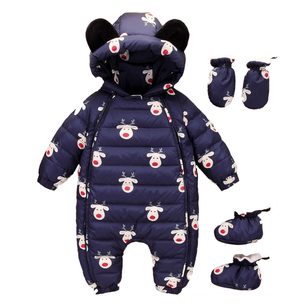 2017 Winter Warm Baby Duck Down Rompers Infant Boy Thick Jumpsuit Baby Outerwear Girl Snowsuit Newborn Romper+Shoes+Gloves 3pcs winter baby rompers organic cotton baby hooded snowsuit jumpsuit long sleeve thick warm baby girls boy romper newborn clothing