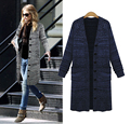 Women long shirt striped knit cardigan jacket casual slim top fashion crochet cardigan sweater